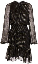 A.L.C. Sidney Silk-Blend Metallic Dot Print Blouson Dress