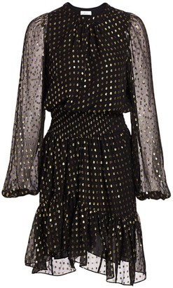 A.L.C. Sidney Silk-Blend Metallic Dot Print Blouson Dress