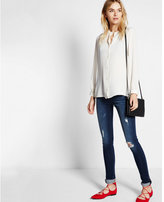 Express notched band collar blouse