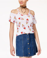 Hybrid Juniors' Cold-Shoulder Popsicle T-Shirt