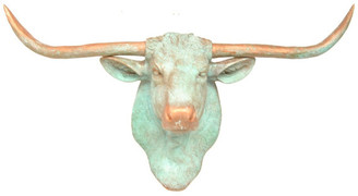 Near and Deer Faux Taxidermy Steer Head Wall Mount, Copper and Green Patina