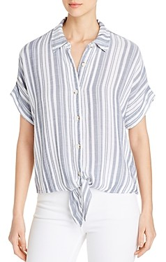 XCVI Teagen Striped Tie-Front Top
