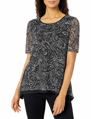 Notations Women's Elbow Sleeve Scoop Neck Sharkbite Hem Printed Lace Top