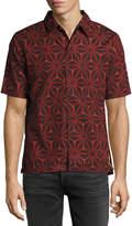 Nudie Jeans Brandon Ikat Short-Sleeve Sport Shirt, Black/Red