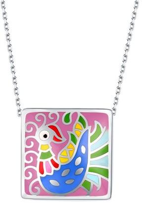 Vedantti .925 Sterling Silver Madhubani Art Peacock Multi Color Enamel Square Necklace
