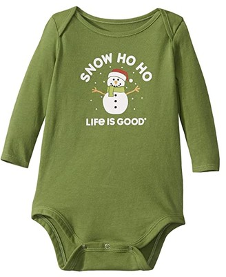 Life is Good Snow Ho Ho Long Sleeve Crusher Bodysuit (Infant) (Fresh Pine) Kid's Jumpsuit & Rompers One Piece