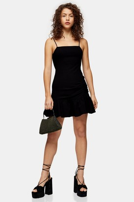 Topshop Womens Petite Black Stretch Frill Mini Dress - Black