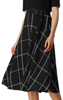 LK Bennett L.K.Bennett Dinah Check Skirt, Black/White