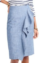 J.Crew Women's Chambray Ruffle Skirt