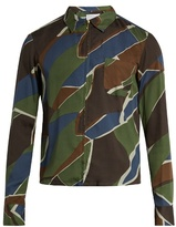 Kolor Geometric-print Zip-though Poplin Shirt