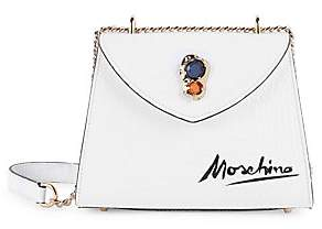 Moschino Women's Jewel-Embellished Croc-Embossed Leather Shoulder Bag