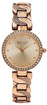 SO&CO New York Women's 5062.3 SoHo Quartz Crystal Accent 16K Rose Tone Chain Link Bracelet Watch