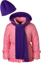 Pink Platinum Cotton Candy Star Ruffle Puffer Coat Set - Toddler & Girls