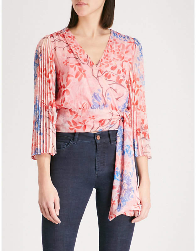 Alice + Olivia Alice & Olivia Bray pleated sleeve silk-chiffon wrap top