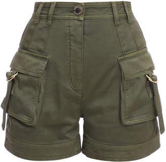Balmain Stretch-Cotton High-Rise Cargo Shorts Size: 34