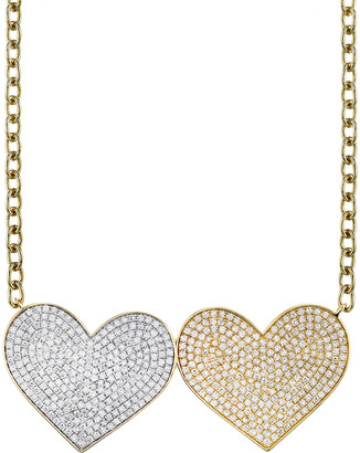 Sydney Evan Supersized Double Diamond Heart Necklace - Yellow and White Gold