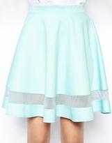 Asos Skater Skirt In Scuba With Sheer Panel