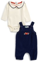 Infant Boy's Mini Boden Nostalgic Overalls & Bodysuit Set