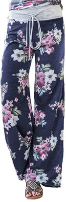 Lilly Posh Women's Summer Casual Pajama Pants Floral Print Drawstring Palazzo Lounge Pants Wide Leg Ble, XXX-Large