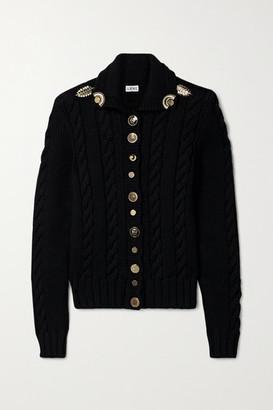 Loewe Embellished Cable-knit Wool Cardigan - Black