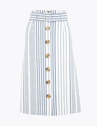 Marks and Spencer Striped Button Front Mini A-Line Skirt