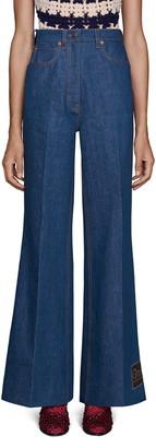 Gucci Label Hem Flare Jeans
