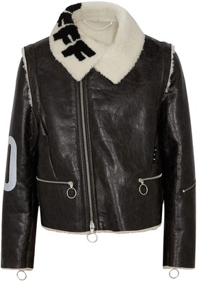 Off-White Black Logo-print Shearling Jacket