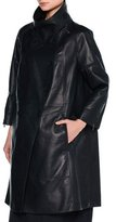 Tomas Maier Double-Breasted Bonded Leather Jacket, Black/Blue