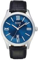 HUGO BOSS Men's Ambassador Croc Embossed Leather Watch