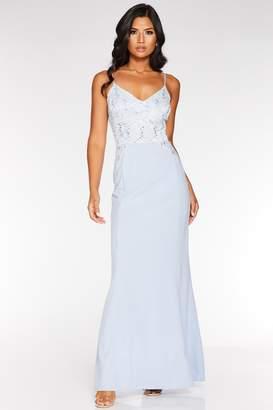 Quiz Pale Blue Sequin Lace Maxi Dress