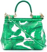 Dolce & Gabbana Leather Leaf Print Satchel