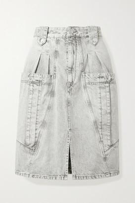 Isabel Marant Kalosia Pleated Denim Skirt - Gray