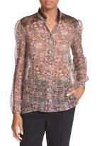 The Kooples Lace Trim Floral Print Silk Shirt