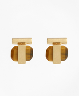 Brooks Brothers Square Tigereye Stud Earrings