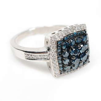 Artisan Natural Diamond Pave Square Shape Ring Silver Fine Engagement Jewelry Black Friday Sale