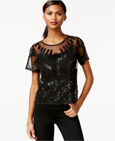 Bar III Embellished Illusion Top, Only at Macy's