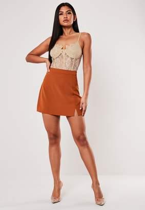 Missguided Terracotta Co Ord Side Split A Line Mini Skirt