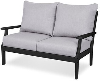Polywoodâ® Braxton Loveseat with Cushions POLYWOODA Frame Color: Black, Cushion Color: Granite
