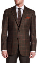 Hart Schaffner Marx Brown Plaid Two Button Notch Lapel Wool Sport Coat