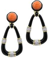 David Webb 18K Yellow Gold and Platinum with Black Enamel and 1.91ct. Diamond Drop Earrings