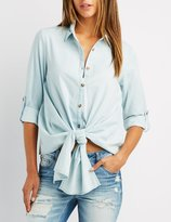 Charlotte Russe Chambray Button-Up Tie-Front Top