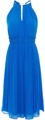 MICHAEL Michael Kors Embellished Pleated Crepe De Chine Dress