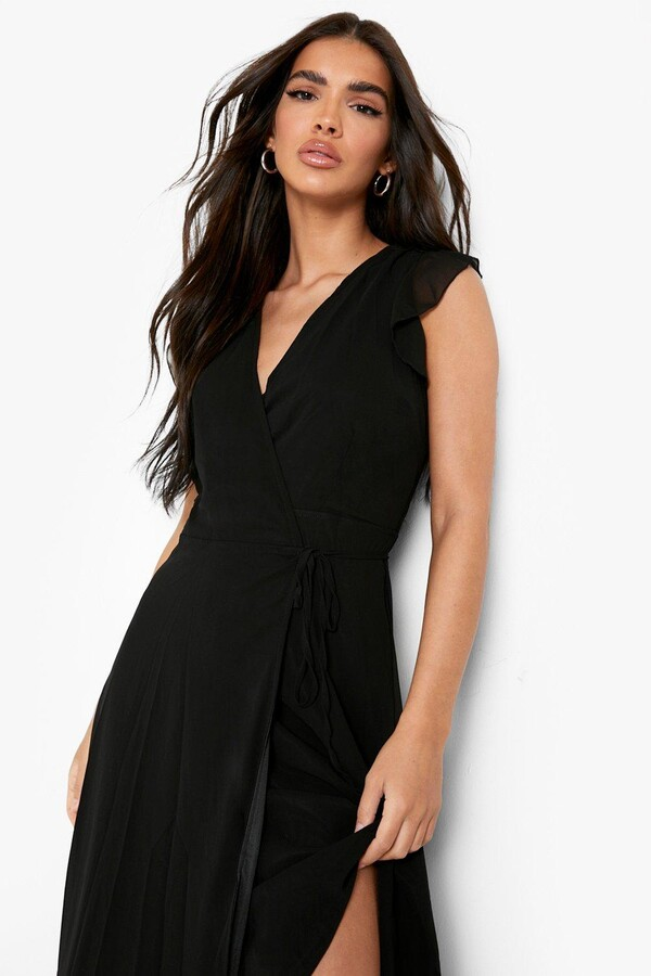 Thumbnail for your product : boohoo Chiffon Ruffle Skater Wrap Bridesmaid Dress