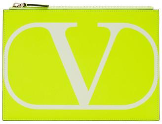 Valentino Yellow Garavani VLogo Medium Pouch