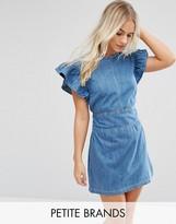 Miss Selfridge Petite Denim Ruffle Dress