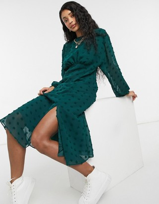 ASOS DESIGN midi tea dress with batwing sleeve in textured spot in forest green