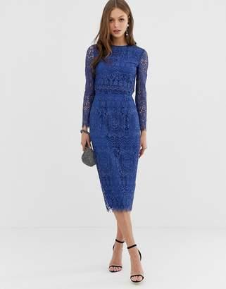 Asos Design DESIGN lace long sleeve midi pencil dress-Blue