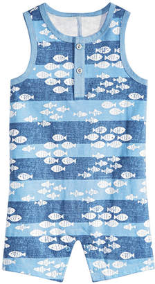 First Impressions Baby Boys Fish-Print Cotton Sunsuit