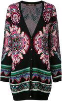Roberto Cavalli ethnic pattern shift cardigan - women - Polyester/Viscose - 44