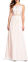 Adrianna Papell Beaded Bodice Halter Gown